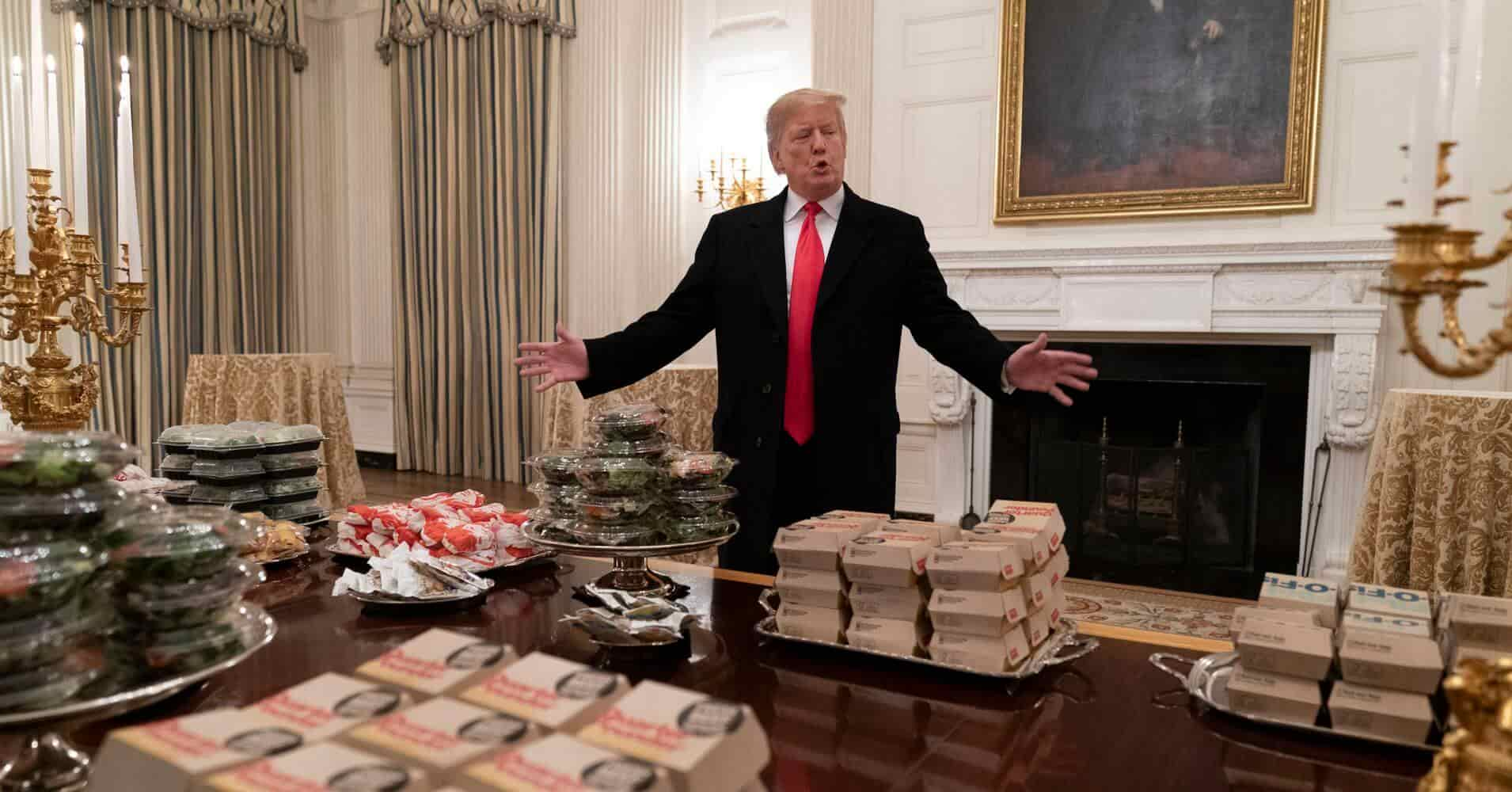 Trump Orders Fast Food after Shutdown Closes White House Kitchen